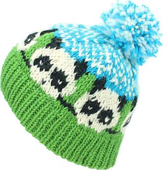 Loud Elephant Wool Knit Bobble Beanie Hat - Panda - Green Blue