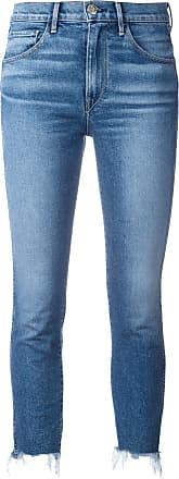 3x1 Cropped-Jeans mit Fransensaum - Blau