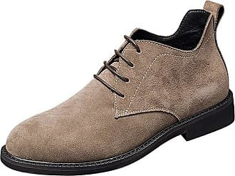 Daytwork Men Shoes Slip Ons - Mens Suede Leather Lace Ups Oxfords Shoes Classic Business Casual Work Dress Pointed Martin Boots
