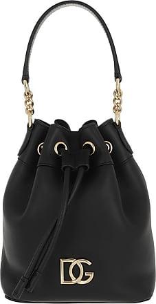 Dolce & Gabbana Logo Bucket Bag Leather Black Beuteltasche schwarz