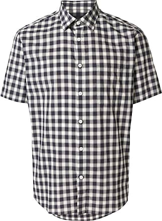 Durban check print short-sleeved shirt - Azul
