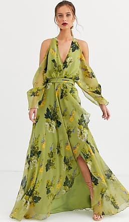 Asos cold shoulder maxi dress in green floral print-Multi