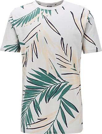 BOSS HUGO BOSS - Safari Print T Shirt In Slub Cotton Jersey - Silver