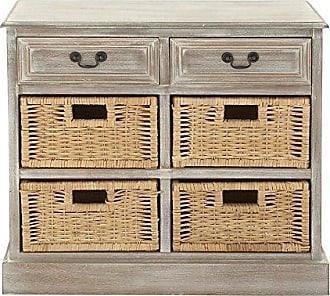 UMA Enterprises Inc. Deco 79 96285 Wood 4 Basket Dresser, 30 x 28, Taupe