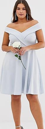 Club L Plus Club L Plus bridesmaid bardot detail skater dress-Blue