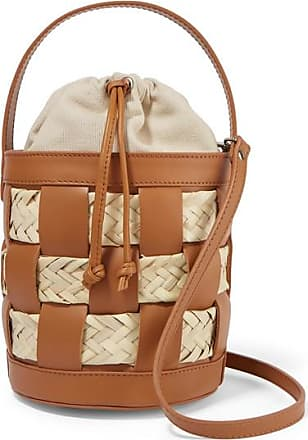 Hereu Galeda Mini Woven Leather, Raffia And Canvas Bucket Bag - Tan