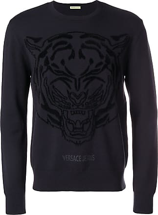 92e5a3adcf3f Versace Jeans Couture logo printed crew neck sweater - Bleu