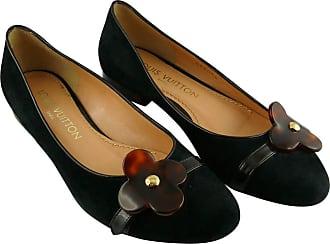 7166eccff90b Louis Vuitton Black Suede And Resin Flower Ballet Flat It 34 1 2 - Us