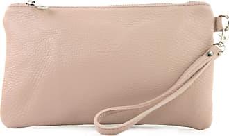 modamoda.de T193 - Italian Clutch/Wristbag Leather Small, Colour:pink Beige
