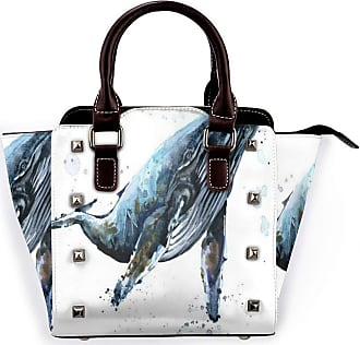 Browncin Ocean Underwater Whale Watercolor Sea Animals Humpback Whale Blue Whale Detachable Fashion Trend Ladies Handbag Shoulder Bag Messenger Bags