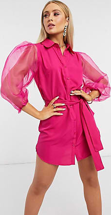 I Saw It First organza puff sleeve belted dress in pink