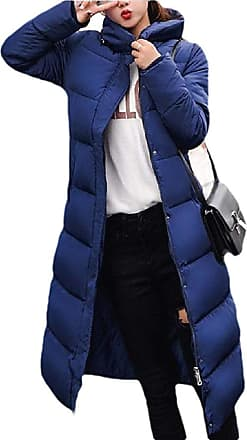 VITryst Womens Winter Solid Down Jacket Zip Quilted Hooded Long Puffer Down Coat,Blue,X-Small
