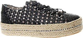 Cafènoir GDG932 Black and Grey Braided Faux Leather Shoes with Beige Rope Black Size: 8.5 UK