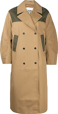 Ganni colour-block oversized trench coat - Brown