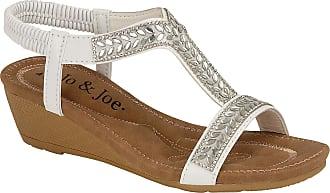 Lora Dora Womens Stretch Elastic Strappy Wedge Glitter Diamante Summer Sandals White UK 8