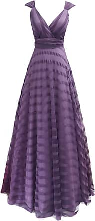 Ever-pretty Womens Deep V Neck Floor Length A Line Empire Waist Long Striped Tulle Elegant Wedding Guest Dresses Lavender 16UK