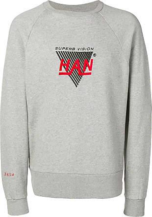 Han Kjobenhavn Moletom decote careca com logo bordado - Cinza