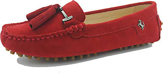 MGM-Joymod Womens Comfortable Red Suede Leather Tassel Buckle Driving Outdoor Walking Casual Flats Slip-on Loafers Boat Shoes 6.5 M UK