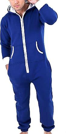 39793f567 Juicy Trendz Mens One Zip Onesie Hoodie Jumpsuit Playsuit All in One Piece  Blue Medium