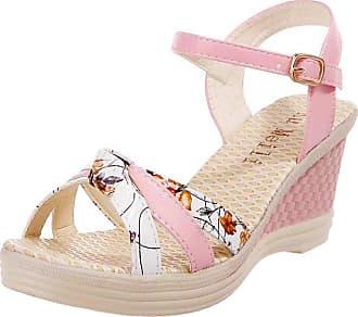 QUINTRA Ladies Women Wedges Shoes Summer Sandals Platform Toe High-Heeled Shoes Blue White Pink (3.5 UK, Pink)