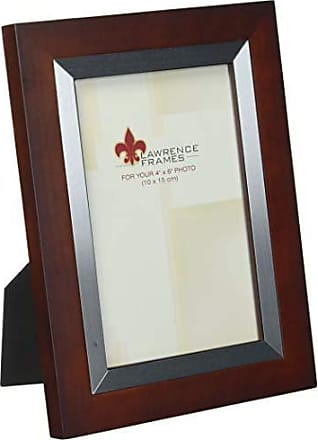 Lawrence Frames Walnut Wood 4 by 6 with Silver Metal Inner Bezel Picture Frame