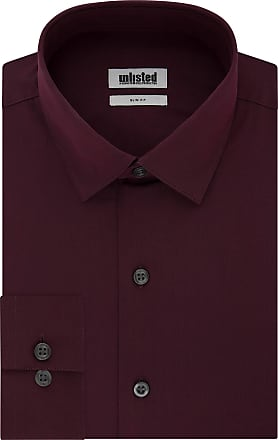 Unlisted by Kenneth Cole Mens Unlisted Dress Shirt Solid, Burgundy, 16-16.5 Neck 32-33 Sleeve (Large)