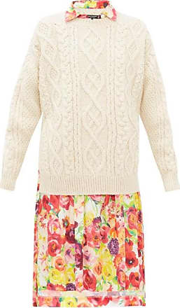 Junya Watanabe Cable-knit Wool And Floral-print Crepe Dress - Womens - Cream Multi