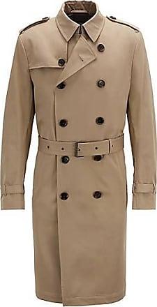 7ca2bbe886a4d BOSS Trench-coat croisé en twill de coton déperlant499.00