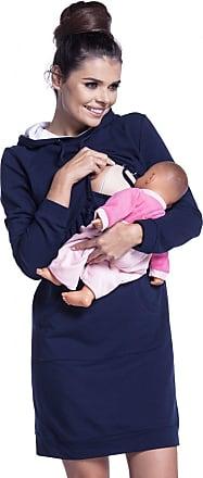 Zeta Ville Zeta Ville - Womens Maternity Nursing Sweat Dress Hood - Long Sleeves - 208c (Navy, UK 12/14, L)