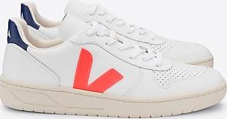Veja Weiß orange Kobalt V-10 Herren Turnschuhe - leather   white   43 - White/White