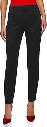 oodji Collection Womens Slim-Fit Trousers with Side Zipper, Black, UK 16 / EU 46 / XXL