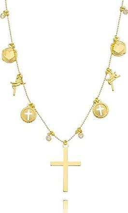 Lua Mia Semijoias Colar Franjinha de Zircônias e Crucifixo - Semijoia Folheada a Ouro Lua Mia Joias
