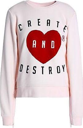 Zoe Karssen Zoe Karssen Woman Flocked Cotton-blend Sweatshirt Pastel Pink Size S