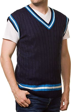 21Fashion Adults Cricket Cable Knitted Sleeveless Jumper Vest Mens Fancy V Neck Sweater Navy Large