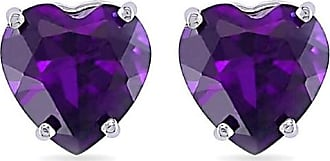 Pompeii3 1.00CT Heart Shape Created Amethyst Studs Earrings 14K White Gold