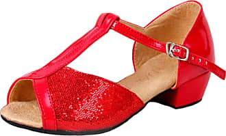 Insun Girls Ballroom Dance Shoes Latin Salsa Performance Shoes Suede Sole Red 12.5 UK Child
