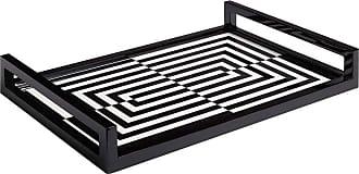 Jonathan Adler Op Art Lacquered Tray - Black/ White - 45x30cm