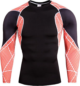 YiJee Mens Running Tops Quick Dry Fitness Compression Base Layer Long Sleeves T-Shirts Red 4XL