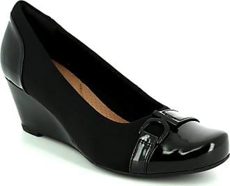 447472e073c0ae Clarks Ladies Wedge Heels with Belt Detail Flores Poppy - Black Combi  Textile - UK Size