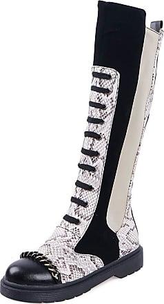 RAZAMAZA Women Fashion Long Boots Flats Punk Boots Knee High Boots Wide Calf Two Tone Boots White Size 34 Asian
