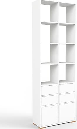 MYCS Bücherregal Weiß - Modernes Regal für Bücher: Schubladen in Weiß & Türen in Weiß - 79 x 235 x 35 cm, konfigurierbar