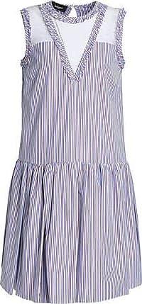 Rochas Rochas Woman Lace-paneled Striped Cotton-poplin Dress Light Blue Size 40
