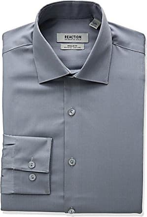 Kenneth Cole Reaction Mens Textured Regular Fit Solid Spread Collar Dress Shirt, Grey, 14 Neck 32-33 Sleeve