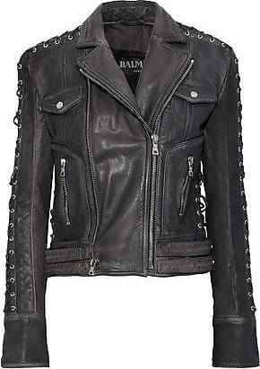 Balmain Balmain Woman Lace-up Washed-leather Biker Jacket Black Size 36