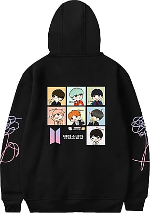 EmilyLe Ladies Cartoon Hoodie BTS New Album Love Yourself Pullover Jin Suga J-Hope Rap Monster Jimin V Jung Kook (3XL, Black)
