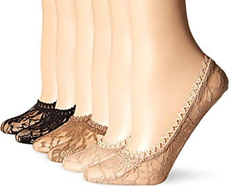 Hot Sox Womens 6 Pack All Over Lace Liner Socks, Nude, Tan, Black, Shoe Size: 4-10