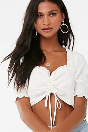 Forever 21 Forever 21 Ruched Crop Top Ivory/ivory