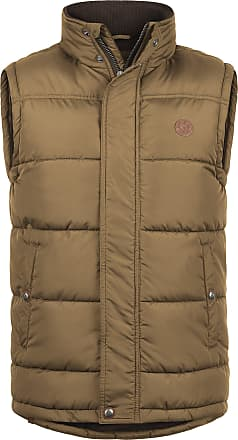Solid Denneb Mens Quilted Gilet Vest Body Warmer with Funnel Neck, Size:XL, Colour:Sepia (5075)