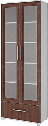 Manhattan Comfort 75AMC193 Serra Modern Storage Bookcase with Glass Door, White/Nut Brown
