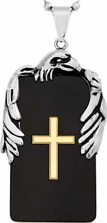 Zales Mens Eagle Cross Dog Tag Pendant in Tri-Tone Stainless Steel - 24
